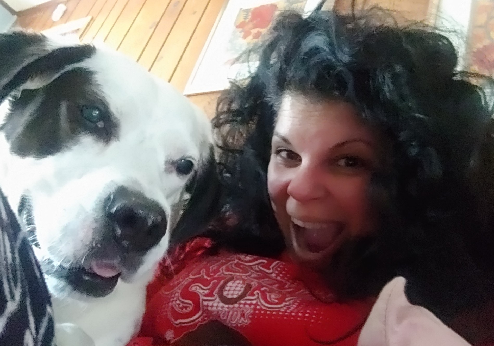 Smiling woman with a great big black-and-white dog.