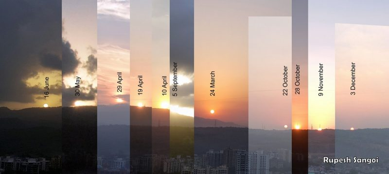 Composite of 11 photos with sun just above a low mountain showing positions of the sun at dawn on 11 dates.