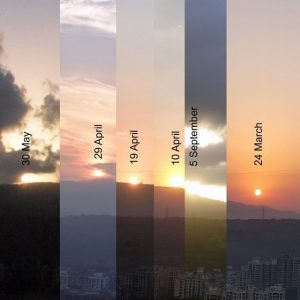 Composite image. Silhouette of a mountain ridgeline - at dawn, above a city - composed of separate images taken of the sunrise, showing the sun's movement between the June and December solstices, and on the equinox.