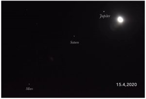 Moon and 3 planets before sunup on April 14.