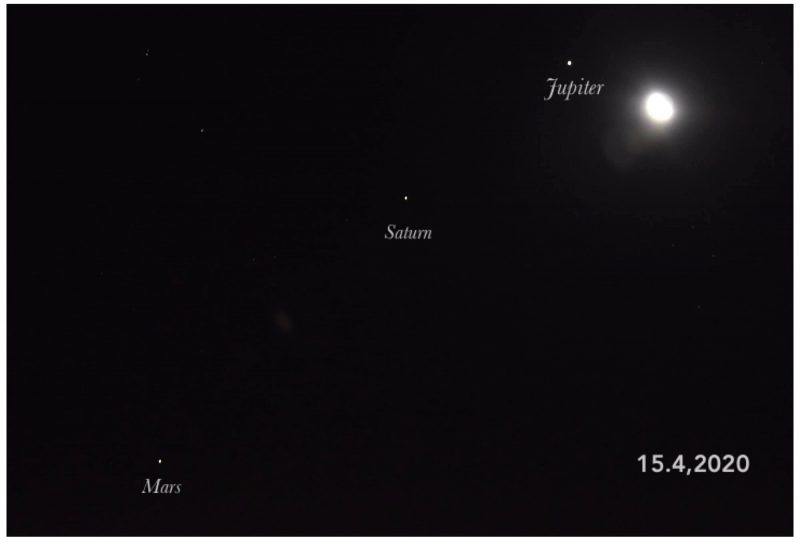 Moon and 3 labeled planets before sunup on April 14.