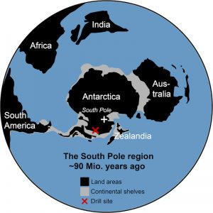 A map of the Southern Hemisphere shows Africa closer than its present location, India as a large island before colliding with Asia, and Australia almost hugging East Antarctica, 90 million years ago.