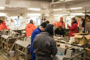 Several scientists in a lab aboard the RV Polarstern working with samples on tables with equipment.