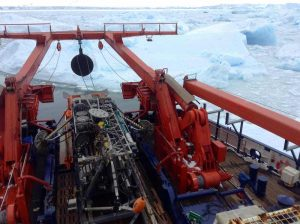 The portable seafloor drill rig stowed away at the aft of the research ship RV Polarstern.