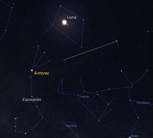 Sky chart showing BepiColombo as seen from Bogota, Colombia on April 9-10..