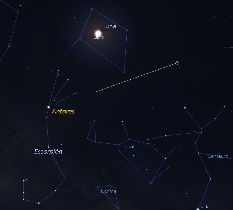 Sky chart with moon, Antares, and Scorpius with long arrow showing path of BepiColombo.