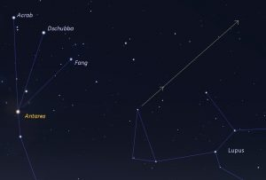 Sky chart showing BepiColombo as seen from Florida - closer view - on April 9-10..