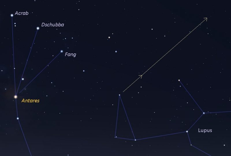 Sky chart showing constellations and BepiColombo's path.