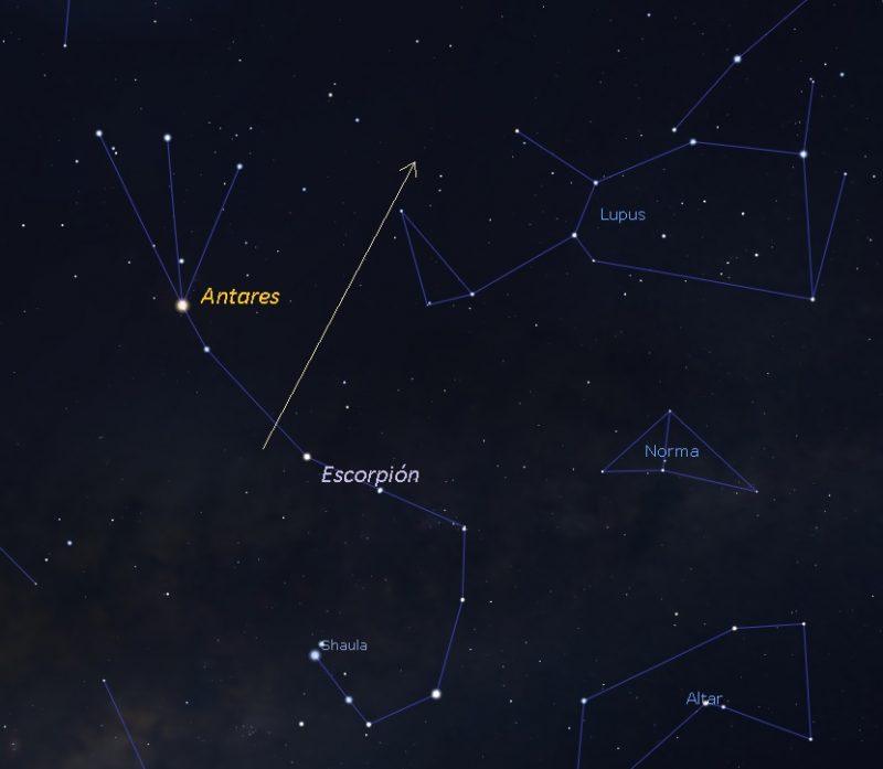 Chart of BepiColombo's path near Antares.