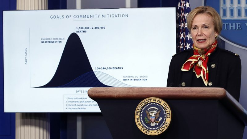 A woman at a lectern, in front of a chart with a tall black bell curve and a much flatter gray bell curve.