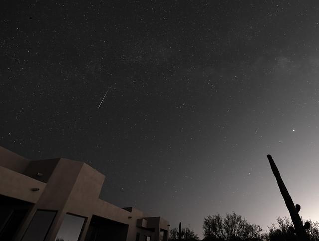 Short white streak in dark sky above building and cactus.