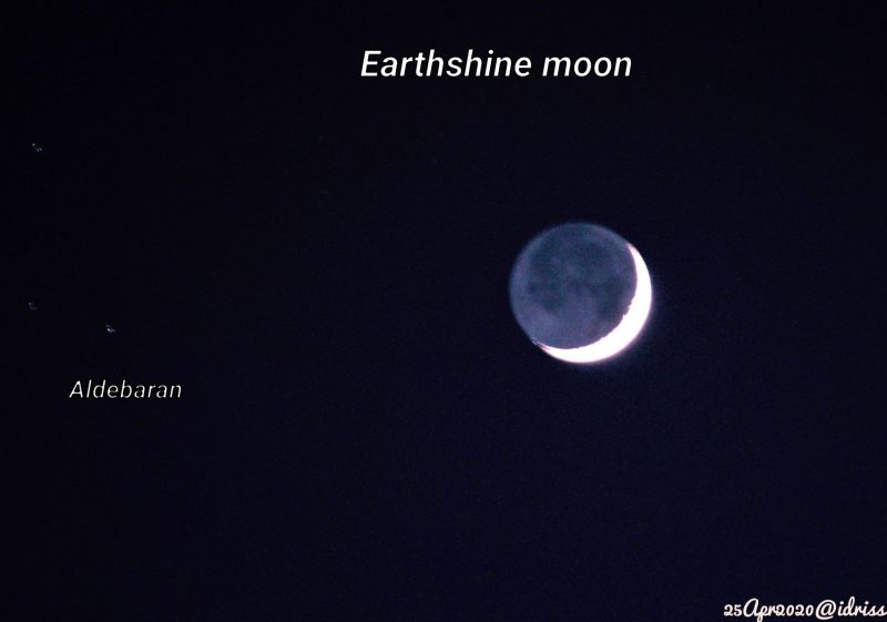 Moon crescent with rest of it dimly visible next to small dot labeled Aldebaran.