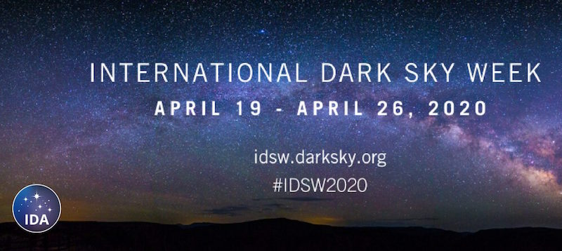Poster for International Dark Sky Day 2020 with arc of Milky Way.
