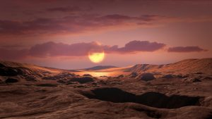 Planet surface with large sun and clouds in sky.