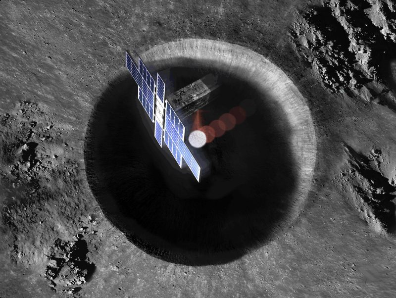 Spacecraft with large solar panels over deep crater on gray surface.