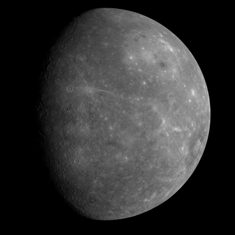 A gibbous Mercury, gray planet with scattered craters, more than half lighted but less than full.