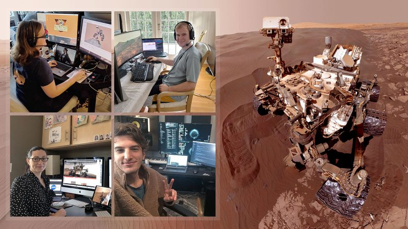 Composite: 4 people in home offices and Mars rover.