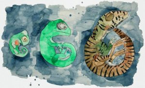 A watercolor painting showing three dinosaur embryos at different developmental stages.