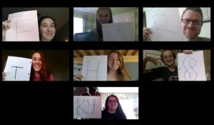 Seven panels with students holding up letters.