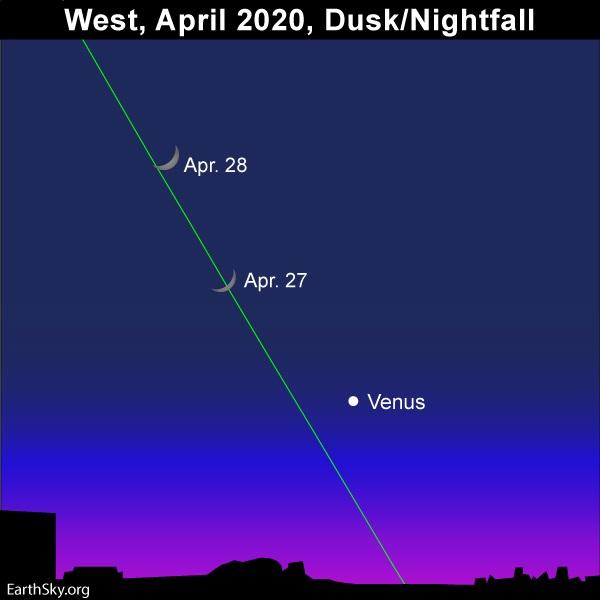 Moon and Venus highlight evening sky.