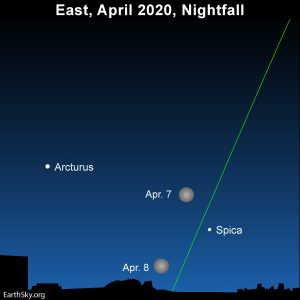 April full moon swings in between the two brilliant springtime stars, Arcturus and Spica.