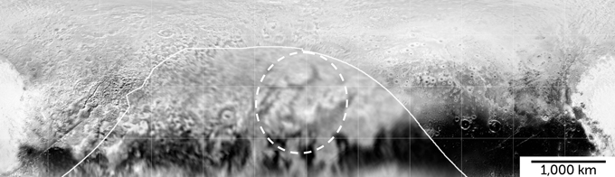 Photo of Pluto's surface - gray and black splotches with raised features circled by a dotted line.