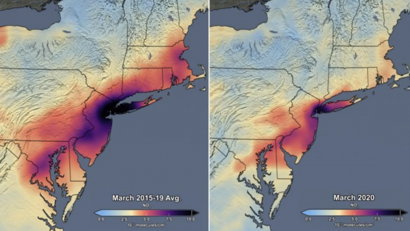 Maps of U.S. northeast coast with wide red areas on left map and narrow red area on right map.