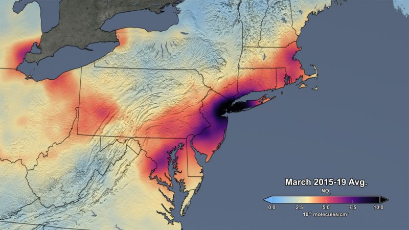 Map of U.S. northeast with false color red to black areas showing extent of pollution, centered on New York.
