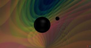 Artist's concept of 2 black holes orbiting, emanating gravitational waves.