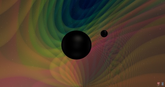Two solid black circles of different sizes with multicolor ripples around them.
