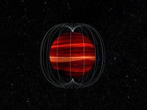Bright banded sphere with curved white lines around and stars in the background.