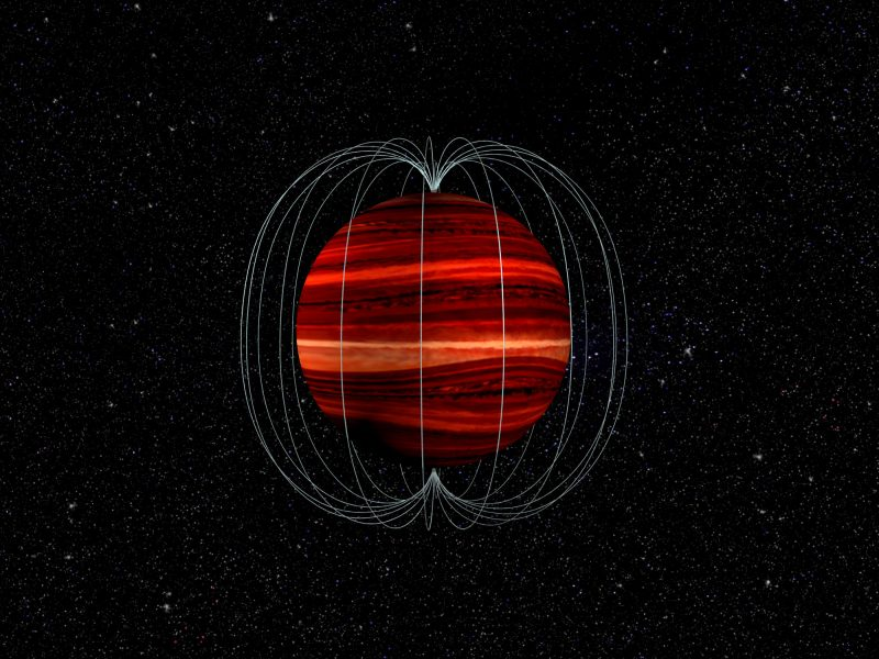 Bright banded sphere with curved vertical white lines running from pole to pole, with stars in the background.