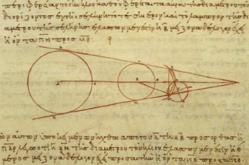 Drawing in red on parchment of 3 circles connected by angled lines, with annotations in Greek.