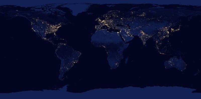Orbital view map of entire Earth at night with city lights.
