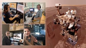 Montage of people at their laptops and the Mars rover.