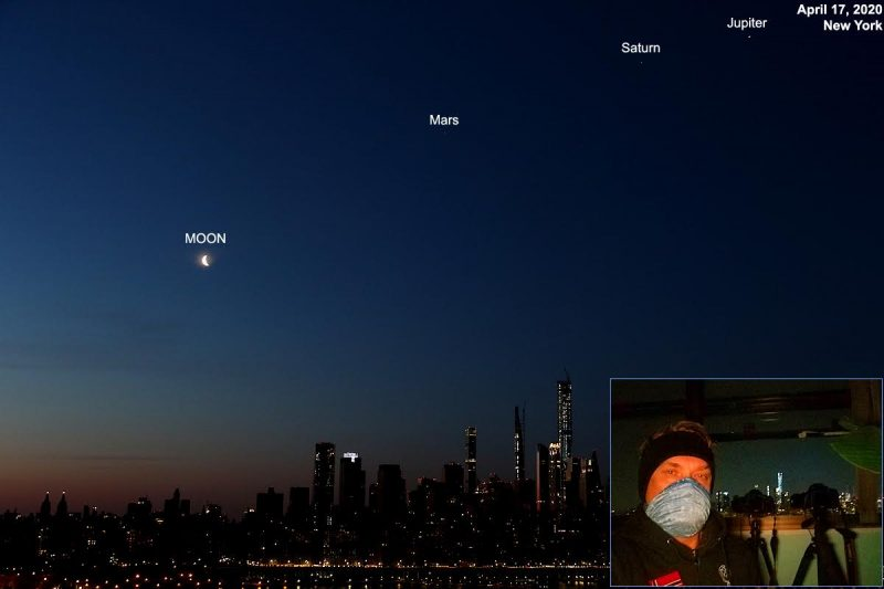 Waning moon in a line with Mars, Saturn and Jupiter.