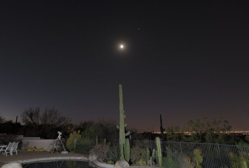 Moon and 3 planets over a Saguaro cactus.
