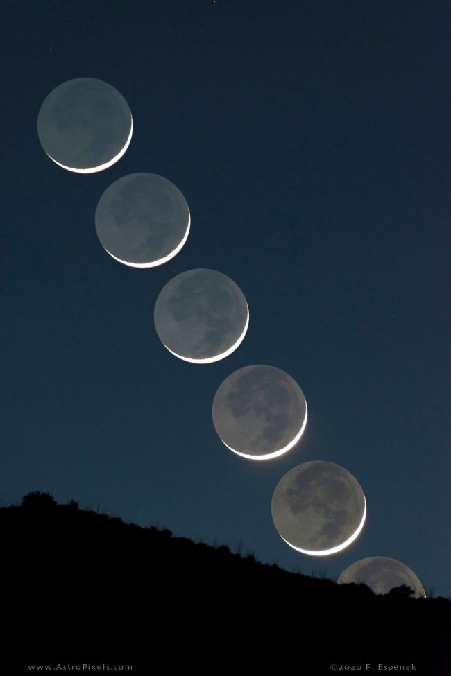 Five images of waxing crescent moon in a near-vertical row, above a mountain ridgeline.