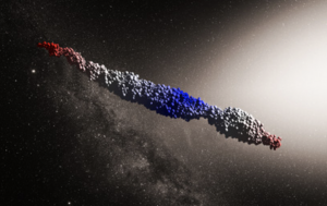 A computer-simulated image of a cigar-shaped body made of varying materials.