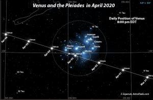 Illustration of Venus' passage through the Pleiades around April 3.