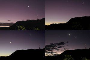 Mosaic of 4 images showing the west after sunset on April 20, 24, 25 and 26.