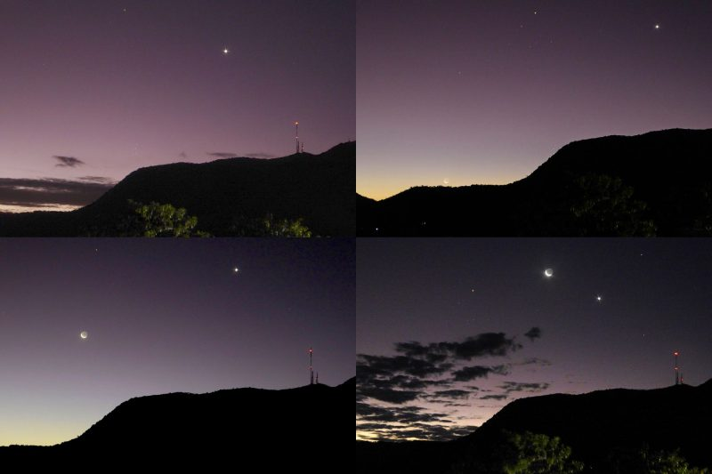 Mosaic of 4 images showing the west after sunset with moon and Venus in different locations above a dark hill.