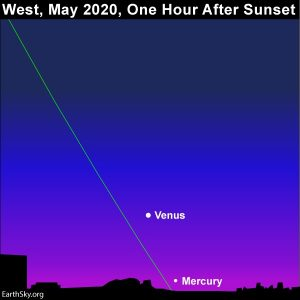 Mercury beneath Venus in the western sky after sunset in May 2020.