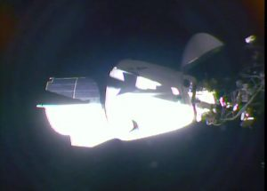 Crew Dragon spacecraft docked with ISS.