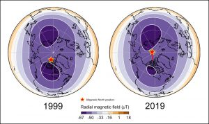 Schematics of the inside of Earth, viewed from earthly north, showing the changing shape of blobs of magnetic flux over time.