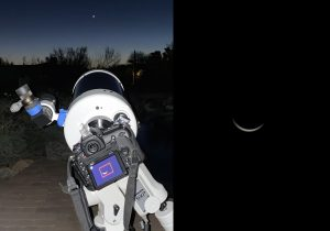 Two photos: telescope on left and thin crescent Venus on right.