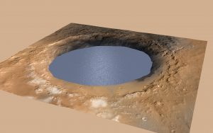 Round hole in ground filled with water.