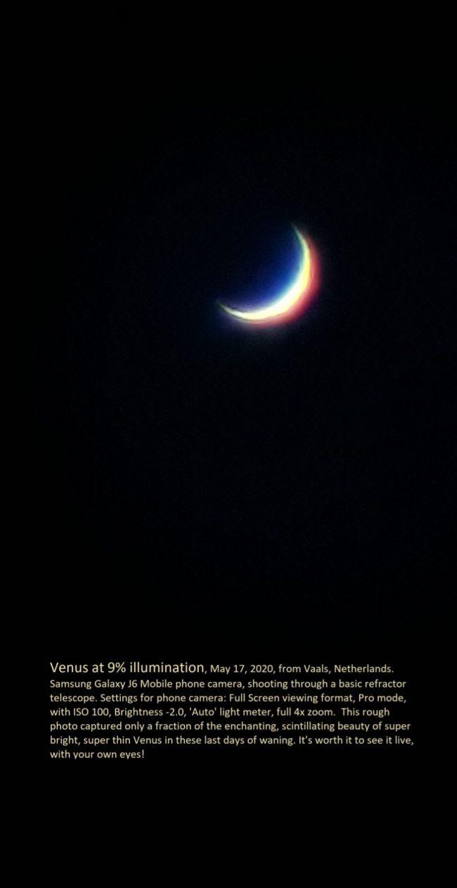 Multicolored crescent on black background.