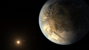 Earth-like planet with sun and stars in background.
