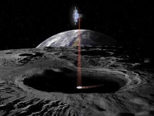 Vertical beam of light over a gray rocky surface with Earth and stars in background.